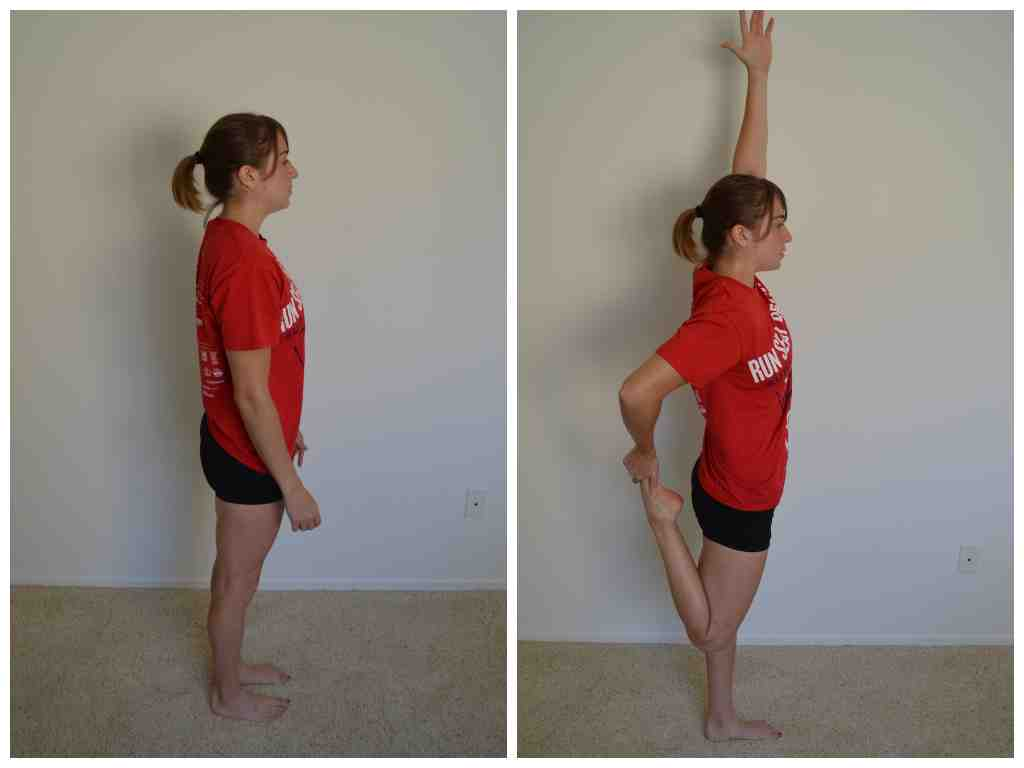 standing quad stretch and reach