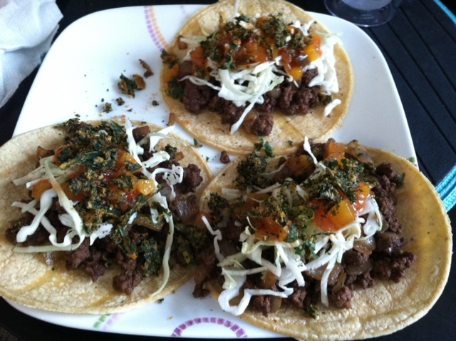 ground beef tacos with black truffle
