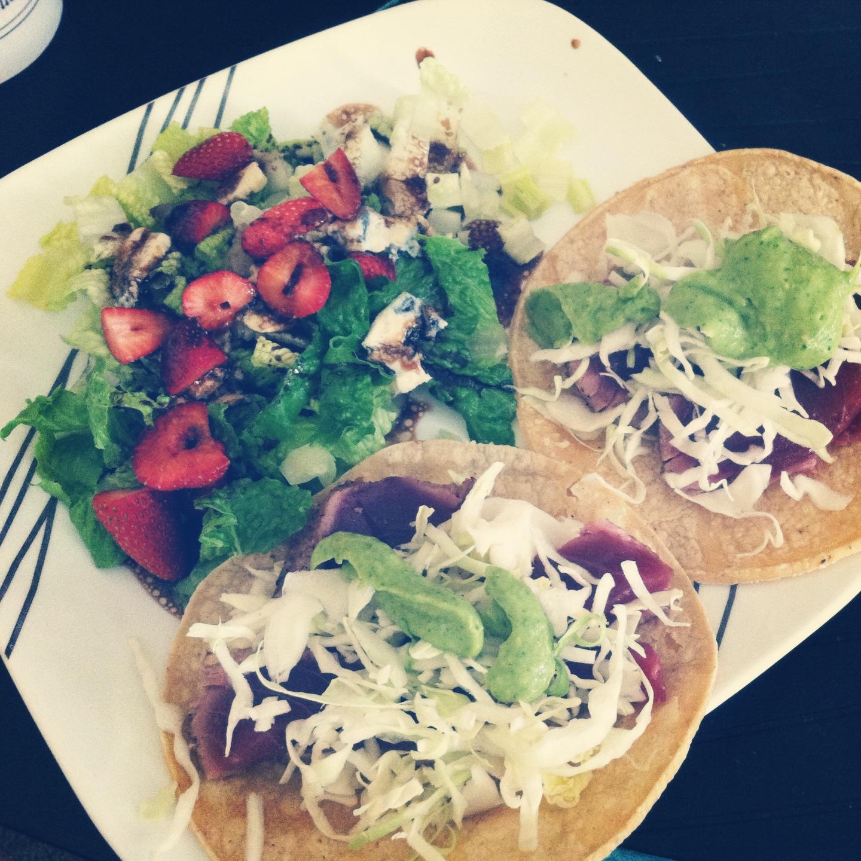 Seared Tuna Tacos with Peach Salsa and Avocado Cilantro Cream