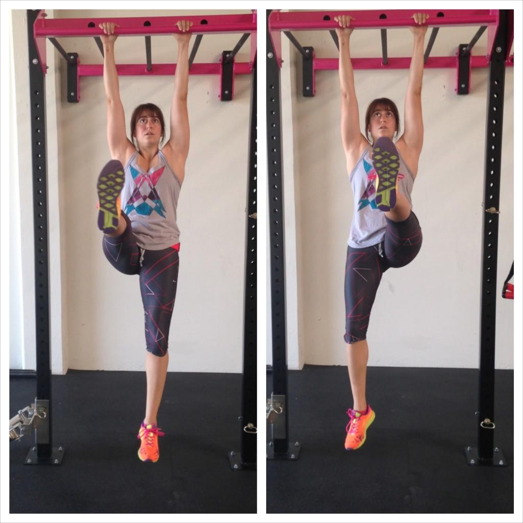 Hanging Single leg lifts