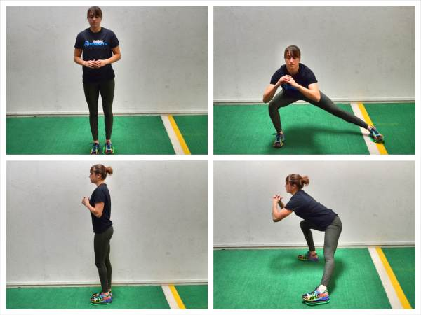 towel-side-lunges