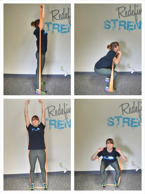 resistance band squat to press