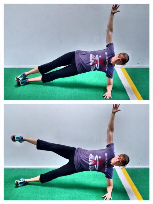 side plank with leg raise