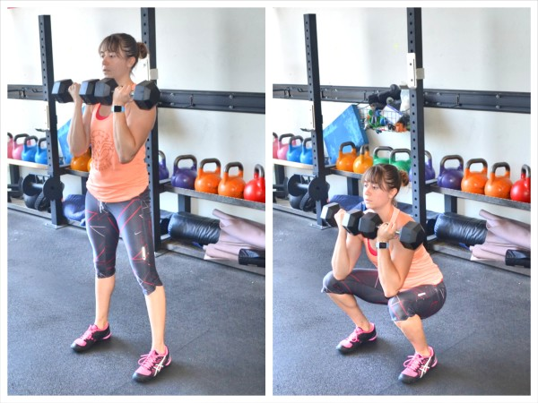 To do the Dumbbell Front Squat, hold a dumbbell in each hand. Bring ... Dumbbell Front Squats