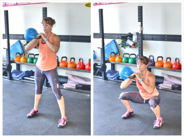 single racked kettlebell squat