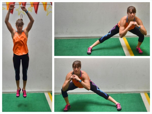 side lunges with hop