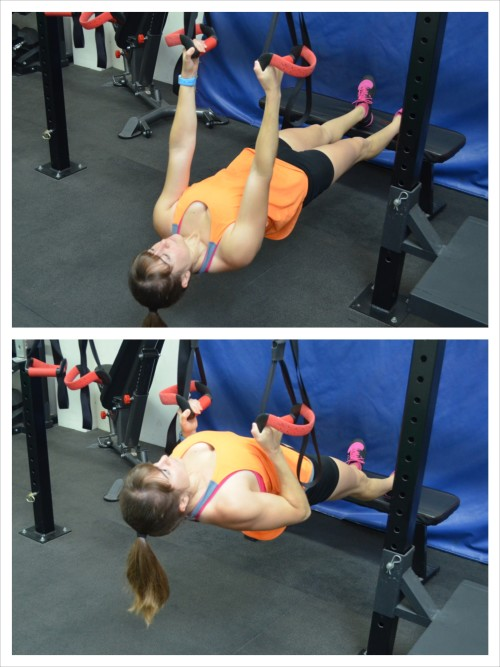 feet raised inverted row