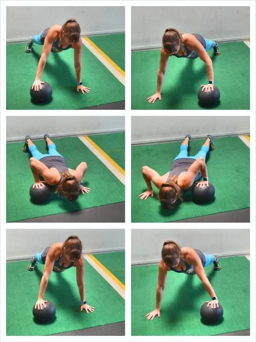 med ball push up shuffle
