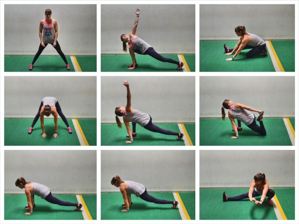 runner's lunge stretching flow