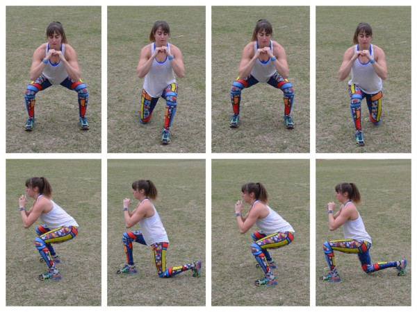 squat to alternating lunge
