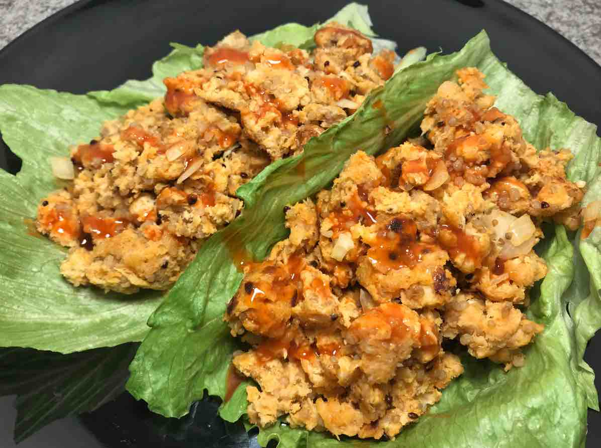 Buffalo Chicken Quinoa Lettuce Wraps